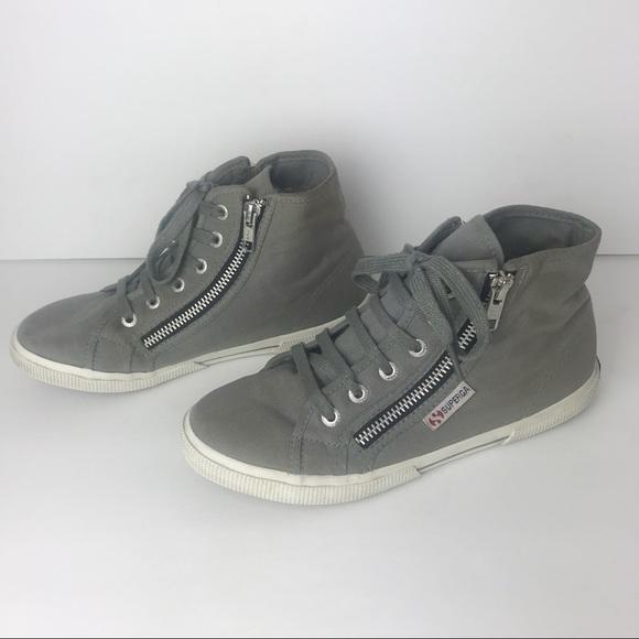 Superga High Top Grey Sneakers Zippers